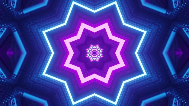3d illustration of 4k uhd purple and blue lines glowing with neon light and forming star shaped ornament