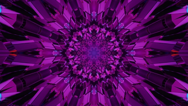 3d illustration of 4k uhd purple crystals glowing with purple neon light inside of tunnel