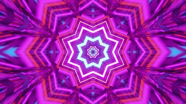 3d illustration of 4k uhd symmetric star shaped psychedelic ornament shining with bright neon light