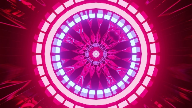 3d illustration of 4k uhd vivid pink neon lamps forming circles inside abstract tunnel Premium Photo