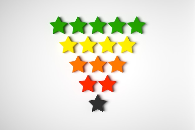 3d illustration  5 multi-colored stars stands in rows, gradually decreasing in number