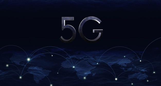 3d illustration 5g wireless network system, iot (internet of things), communication network concept.