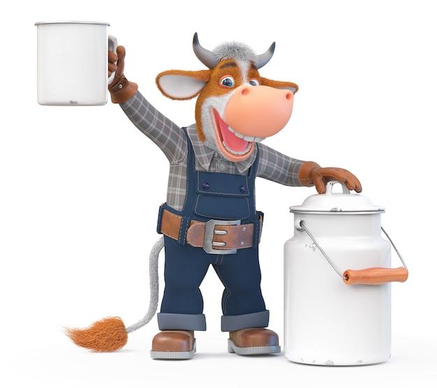 3d иллюстрации буйвол в комбинезоне на ферме с банкой молока