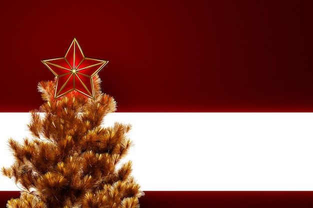 3d иллюстрации рождественская декоративная звезда на вершине елки с красивым фоном боке. атрибуты рождества и нового года.