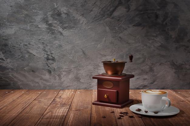 3d иллюстрации чашка горячего кофе латте и кофемолка на деревянном столе с бетонной стеной