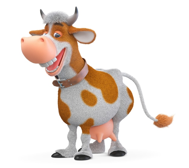 3d иллюстрации рогатое травоядное животное живет на ферме