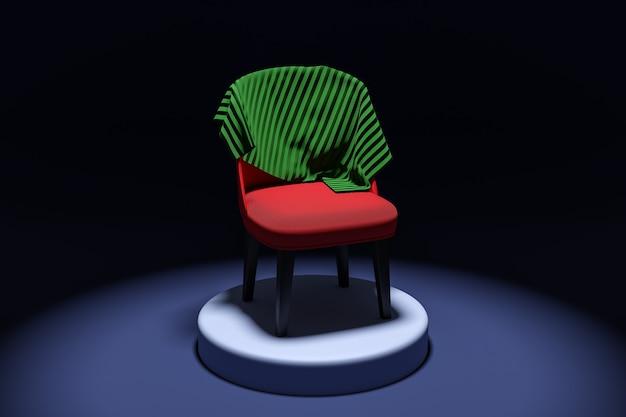 3dイラスト黒の孤立した背景の台座に毛布と赤い椅子。