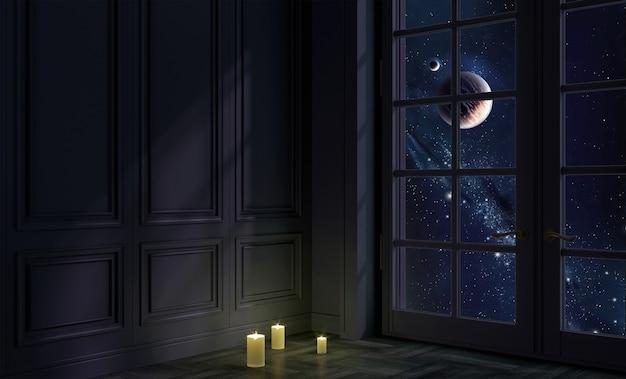 3d 그림. 밤과 공간에 창문이있는 방. 은하와 행성