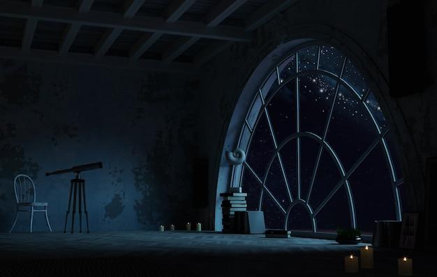 3d 그림. 밤과 공간에 아치형 창문이있는 방. 은하와 행성