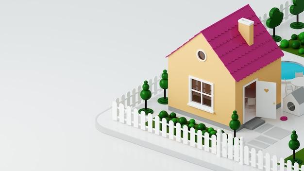 3dイラスト。柵のある通りにある小さなおもちゃのドールハウス。小屋の小さな家