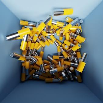 Иллюстрация 3d щелочная батарея размера aa в коробке. крупный план тех же желтых батарей, выстроенных аккуратными рядами положительных зарядов. небезопасный способ использования энергии.