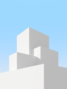 3d illustration of abstract architecture background. minimal architectural poster.