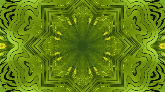 3d illustration abstract art background with optical illusion effect of endless green colored tunnel with kaleidoscopic ornament and reflections