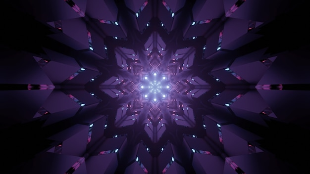 3d illustration abstract art visual background with shiny geometric flower shaped neon purple ornament and sparkles as interior of futuristic tunnel