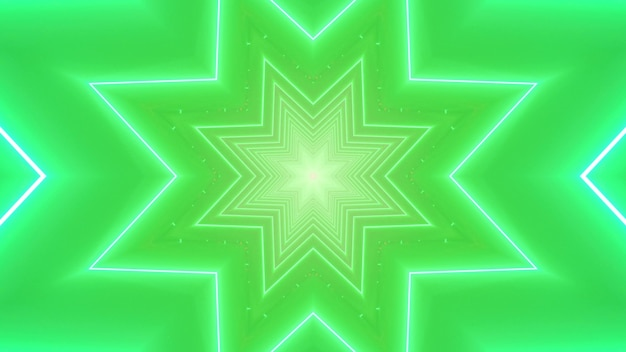 3d illustration abstract art visual festive background with symmetric neon stars and sparkles on bright green backdrop