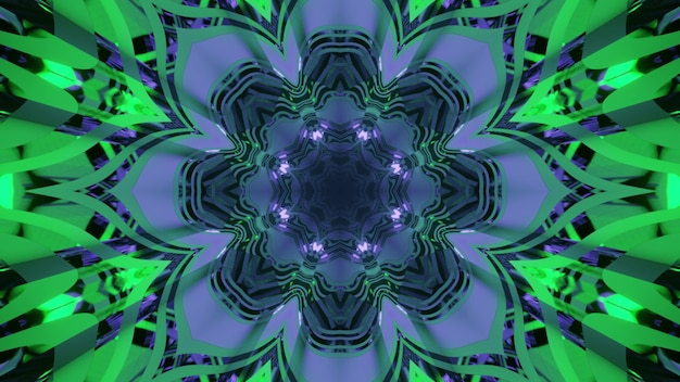 3d illustration abstract art  with floral ornament and light reflections in blue and green neon colors