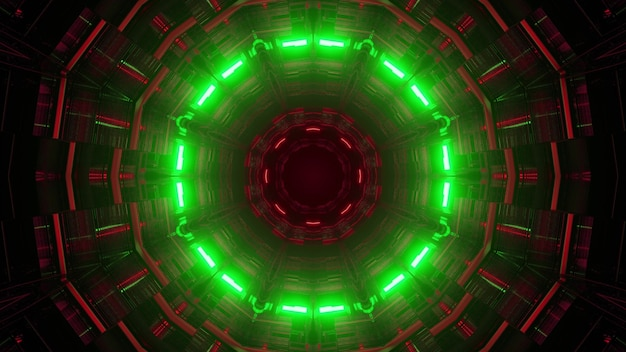 3d illustration of abstract background of bright endless round shaped tunnel glowing wit red and green illumination