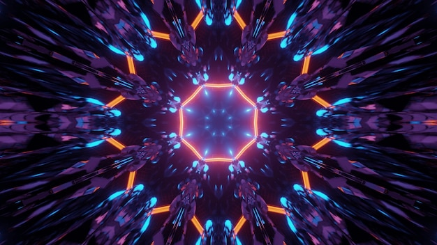 3d illustration of abstract background of bright neon tunnel in shape of symmetric flower