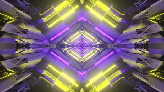 3d illustration of abstract background of bright rhombus shaped tunnel with yellow and purple neon lights