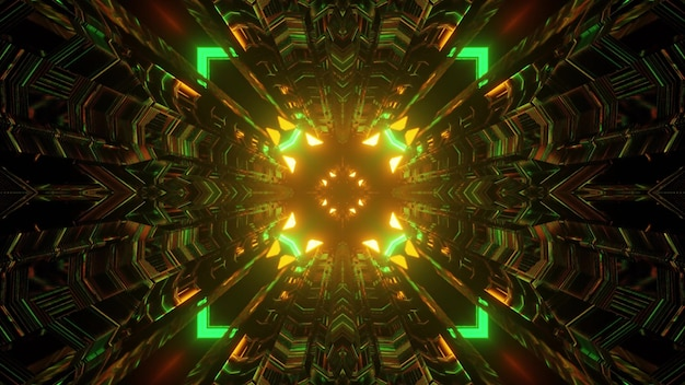 3d illustration of abstract background of bright sci fi tunnel with geometric shapes and arrows glowing with green and orange lights