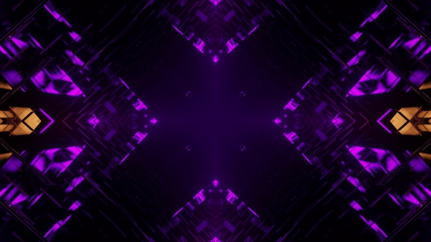 3d illustration of abstract background of dark endless cross shaped tunnel with purple and yellow illumination