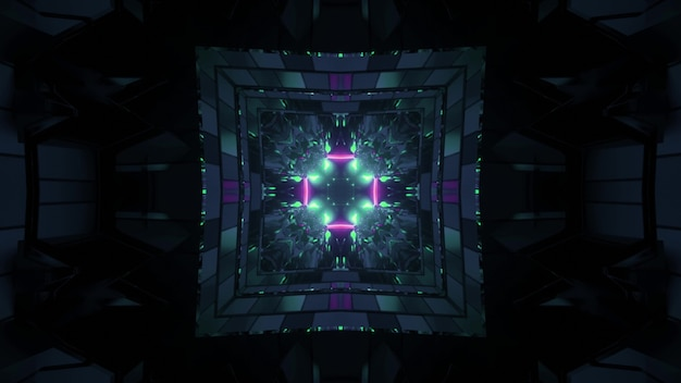 3d illustration of abstract background of dark endless tunnel in shape of square with blue and purple neon illumination