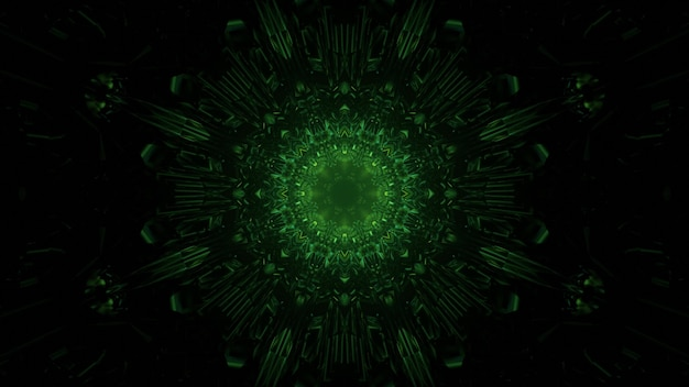 3d illustration of abstract background of dark symmetric tunnel in shape of circle with green neon illumination