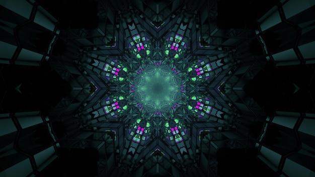 3d illustration of abstract background of dark tunnel in shape of flower with green and purple neon lights