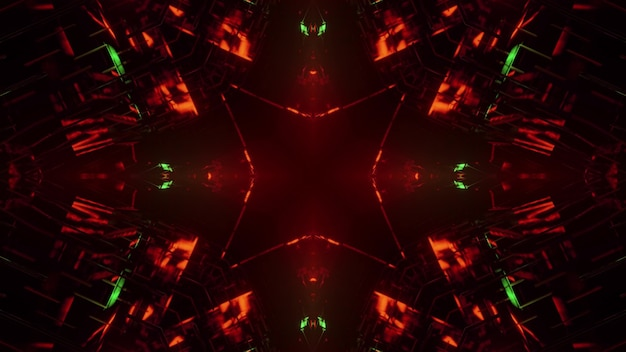 3d illustration of abstract background of dark tunnel with geometric shapes illuminated by red and green neon lights