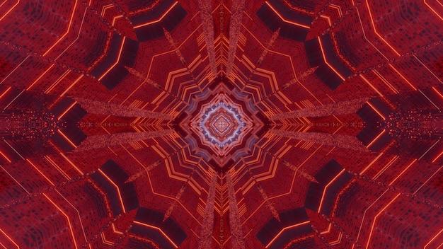 대칭 기하학적 장식으로 끝없는 붉은 복도의 3d 그림 추상적 인 배경 디자인