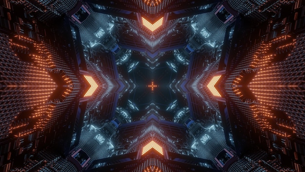 3d illustration abstract background design of virtual space tunnel with geometric pattern and glowing red neon arrows showing direction to dark hole