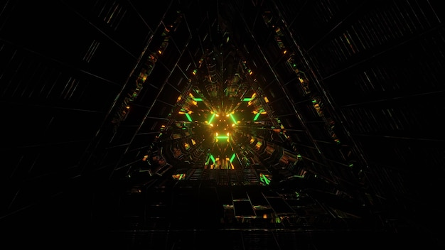 3d illustration of abstract background of endless sci fi tunnel with neon illumination of orange and green colors