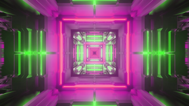 3d illustration of abstract background of endless square shaped tunnel