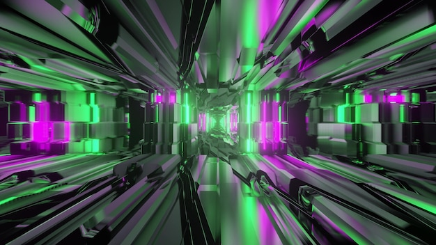 3d illustration of abstract background of endless tunnel with geometric lines glowing