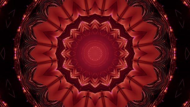 3d illustration of abstract background of flower shaped sci fi tunnel glowing with red neon light