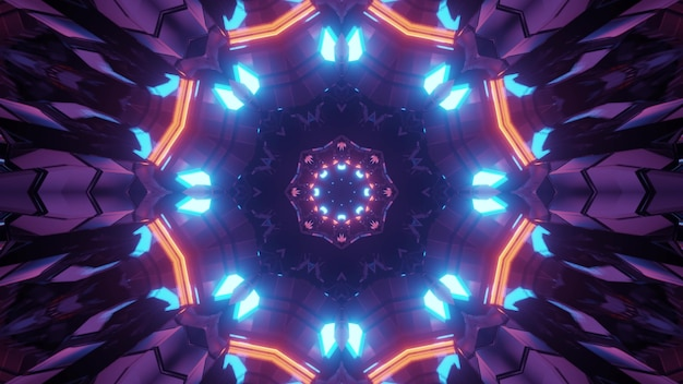 3d illustration of abstract background of futuristic endless tunnel in shape of flower with neon illumination