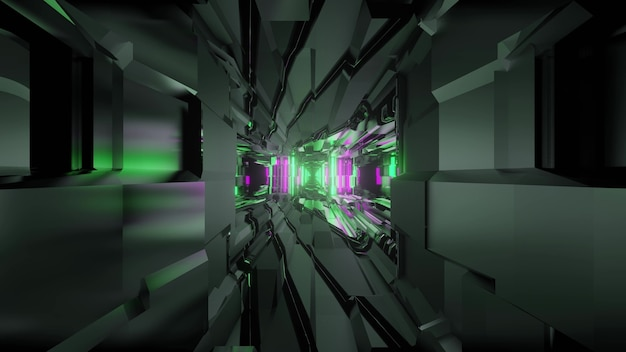 3d illustration of abstract background of futuristic geometric dark tunnel
