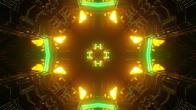 3d illustration of abstract background of futuristic tunnel in shape of cross illuminated by yellow and green neon lights