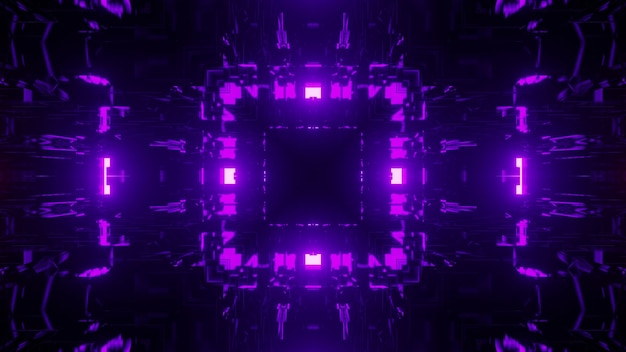 3d illustration of abstract background of geometric corridor in shape of square glowing with purple neon lights