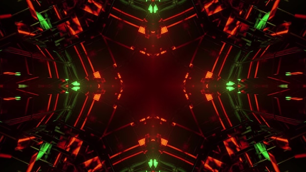 3d illustration of abstract background of geometric creative endless tunnel glowing with red and green illumination