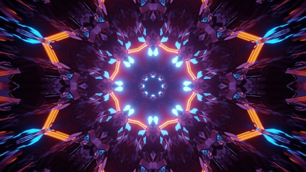 3d illustration of abstract background of geometric flower shaped tunnel glowing with neon lights