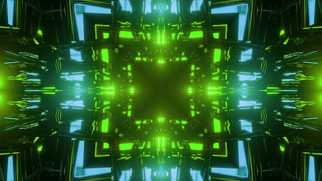 3d illustration of abstract background of geometric square shaped tunnel illuminated by vivid green and blue neon lights