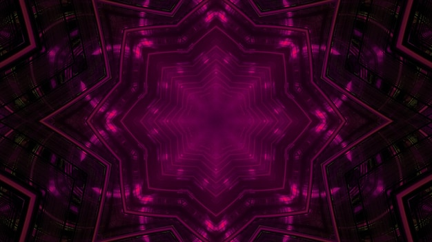 3d illustration of abstract background of kaleidoscopic corridor in shape of flower with purple neon illumination