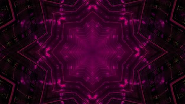 3d illustration of abstract background of kaleidoscopic corridor in shape of flower with purple neon illumination
