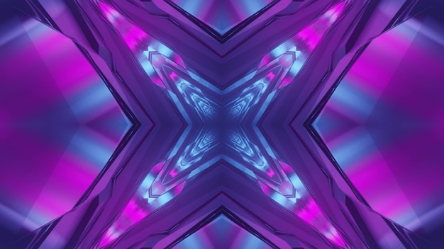 3d illustration of abstract background of kaleidoscopic cross shaped tunnel