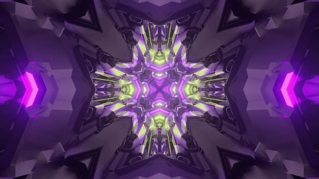 3d illustration of abstract background of kaleidoscopic sci fi tunnel illuminated