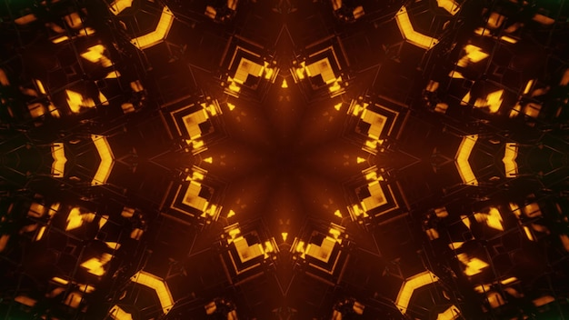 3d illustration of abstract background of kaleidoscopic tunnel in shape of flower glowing with orange illumination