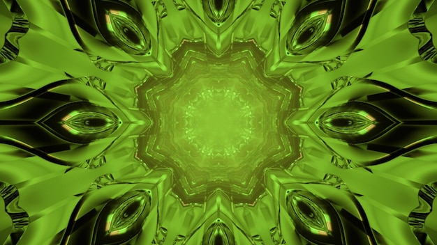 3d illustration of abstract background of kaleidoscopic tunnel in shape of flower with green light