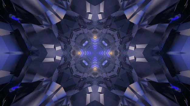 3d illustration of abstract background of kaleidoscopic tunnel