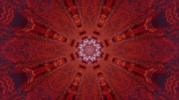 대칭 기하학적 디자인과 네온 불빛과 함께 sci fi 붉은 꽃 모양의 통로의 3d 그림 추상적 인 배경